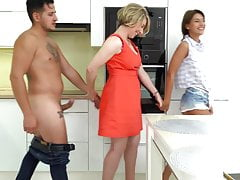 Young couple having sex with Mature Lady
