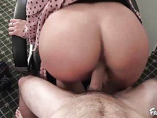 Natural Tits Blonde Fucks Her Stepbrother In their Office