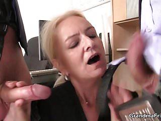 Skinny blonde old grandma cocks...
