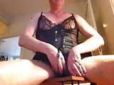 Crossdressed, anal masturbate and eat cum