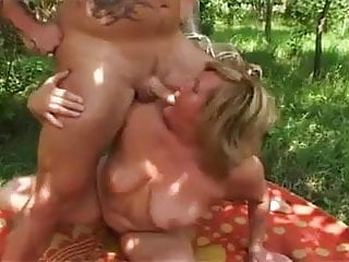 Big tit granny sucks and fucks in park...