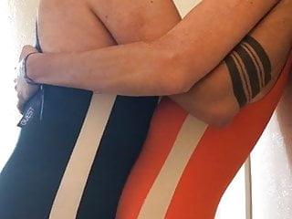 Gay finger makeout hard leotard swimsuit...