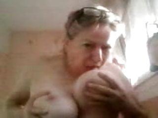 Martine sucking her nipples...