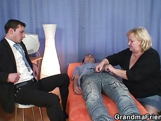 Granny double blowjob and fuck...