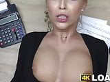 Blonde beauty drilled missionary style for the money loan