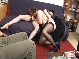 wife fucked Francoise a his He watches in threesome