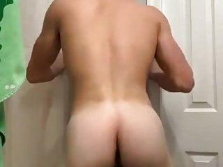 Horny athlete jerking off...