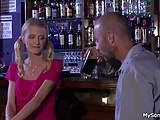 Blonde cheater sucks and rides his old big cock
