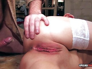 Blonde in stockings gets her asshole plunged