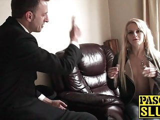 Sensual babe chokes on cock and gets spanked hard by dom