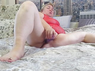 masturbating in front of the camera, close-up