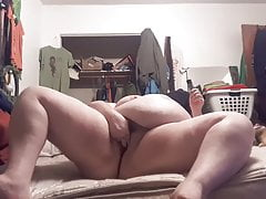 Fat granny pig has a loud orgasm in her bedroom!