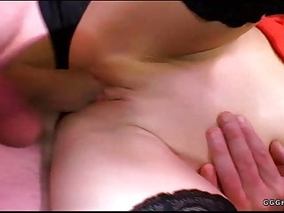 Slut Anna in blowbang with cum and bukkake