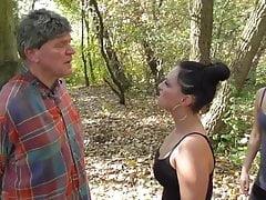 2 German chav doms spit on old slave in woods