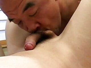 Japanese Daddy sucking a beautiful ladyboy