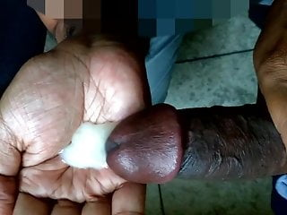 BBC Cock Sucking Cum in hand & Swallowing Creamy Huge Load