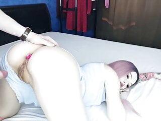 Homemade porn. Pink hair and matching butt plug