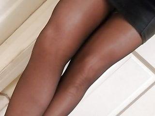 In pantyhose heels chastity teasing...