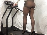 Black pantyhose treadmill