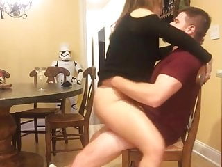 MILF sucking & riding on a chair