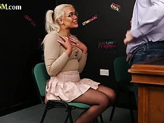 Nerdy CFNM blonde blowing cock at the job interview
