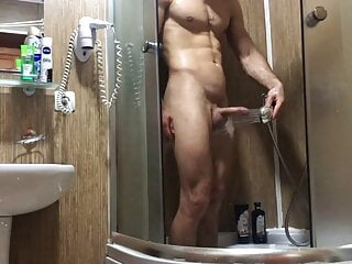 I secretly shoot how my sports friend washes in the shower