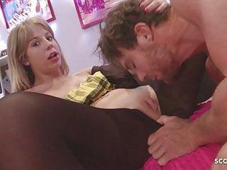 Bro Caught Tiny Step Sister Masturbate and Seduce to Fuck