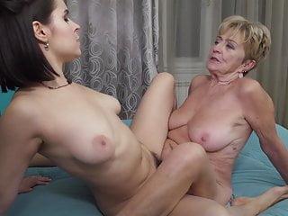 lesbian Grandma fucks hairy girl couple