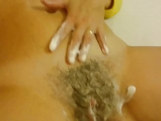 Czech sweater girl with hairy pussy