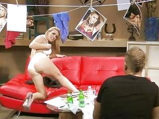 British slut Tanya Tate gets fucked on a red leathersofa