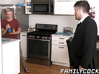Dashing stepdad punishes twink by drilling his ass...