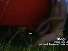 Fucking the exhaust pipe of a Mazda Miata MX-5 sports car