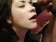 Raunchy brunette covered in her bf cum. enjoy
