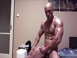 Bodybuilder Soldier Muscle Flexing While Jerking Off